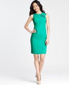 Ann Taylor - AT Sale Dresses - Petite Crepe Shoulder Ruffle Sheath Dress Petite Dresses, Dresses For Sale, Dresses For Work, Verde Jade, Mint Dress, Jade Dress, Review Dresses, Petite Fashion, Chic