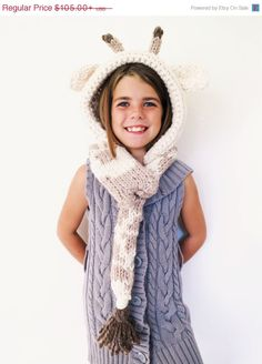 On Sale Giraffe Hat Hood Cowl Scarf Knit Toddler by TwoOfWandsShop