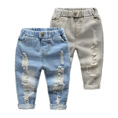 Boys & Girls Jeans Summer Fall Style 2017 Trend Denim Trousers For Kids Children Distrressed Hole Pants Cave Casual Pants