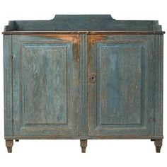 Rare period gustavian sideboard from northern Sweden. The front is dry scraped to the blue original paint. The inside in completely untouched with its original dark blue paint. Primitive Furniture, Color Design Inspiration, Gustavian, Painted Sideboard, Furniture, Primitive Cabinets, Painting Wooden Furniture, American Furniture, Gustavian Furniture