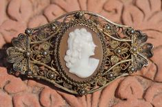 Antique Gold Washed Sterling Silver FIligree Hand Carved Cameo Brooch Pin