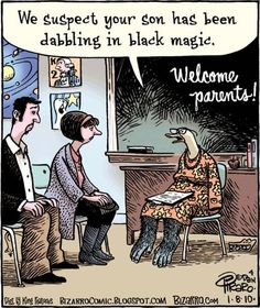 We suspect your son has been dabbling in black magic teacher that is a duck with gorilla legs Award-winning, cartoon artist Dan Piraro, has nailed teacher life with these hilarious teacher comics that we can all sit back and laugh at. Funny Cartoon Pictures, Funny Pictures With Captions, Cartoon Jokes, Funny Cartoons, Funny Comics, Funny Memes, Hilarious, Funny Photos, Marvel Girls