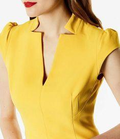 Buy Black Karen Millen V-Neck Sleeveless Dress from our Women's Dresses range at John Lewis & Partners. Chudithar Neck Designs, Neck Designs For Suits, Neckline Designs, Sleeves Designs For Dresses, Dress Neck Designs, Salwar Kameez Neck Designs, Latest Salwar Kameez, Kurta Neck Design, Kurta Designs