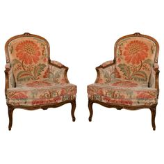 Pair of French Provincial Walnut Bergere Chairs  France  1920s