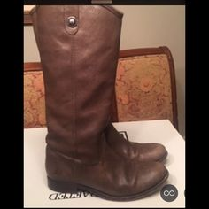 """FRYE Grey Melissa Button Boots Grey Antique Soft Full Grain Leather. Size 8, excellent condition. 100% leather. Shaft measures approximately 15.25"""" from arch. Platform measures approximately 0.25. Calf height 12-inches. Frye Shoes"""