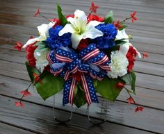 Patriotic Cemetery Flowers Headstone Saddle Veterans Tombstone Grave Memorial