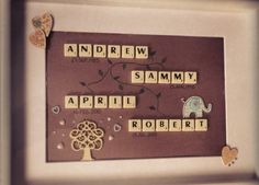 Family Tree Frame #mcdgifts #handmade #scrabbleart #scrabbleframes