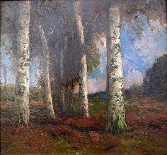 Birkenrain Ölbild von Alois Kalvoda (1875–1934), tschechischer Maler