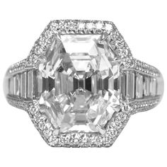 Trendy Diamond Rings :    7.25 Carat Octagonal emerald cut diamond Platinum Engagement ring | From a unique collection of vintage engagement rings at www.1stdibs.com/…  - #Rings https://youfashion.net/wedding/rings/diamond-rings-7-25-carat-octagonal-emerald-cut-diamond-platinum-engagement-ring-from-a-uniqu/