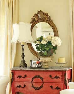 This is just pretty. Gypsy Purple home. Furniture Makeover, Diy Furniture, Coral Furniture, Furniture Hardware, Antique Furniture, Mantel Styling, Used Dressers, Red Home Decor, Purple Home