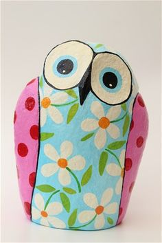 paper mache spring owl 22cm tall  Liat Benyamini Ariel Arstist and teacher of recycle art and Paper Mache