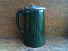 Vintage English Green Jug with Pewter Lid by EnglishShop on Etsy, $79.00