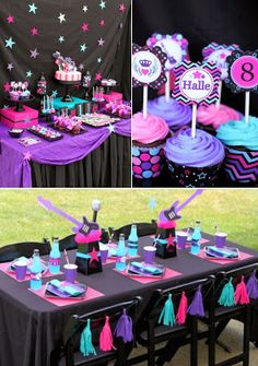 Girly Rockstar themed birthday party via Kara's Party Ideas . Rockstar Party, Rockstar Birthday, Pink Birthday, Birthday Ideas, 8th Birthday, Girls Birthday Party Themes, Male Birthday, Birthday Cake, Lila Party