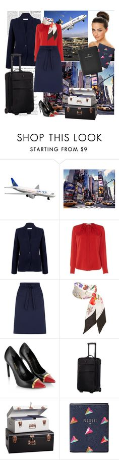 """Cabin crew uniform be like."" by shure-rose-s ❤ liked on Polyvore featuring JFK, Atea Oceanie, HUGO, Oasis, Gucci, Yves Saint Laurent, Victorinox Swiss Army and FOSSIL"