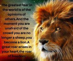 #Lion #Fear #Sheep #Freedom #Roar #Heart