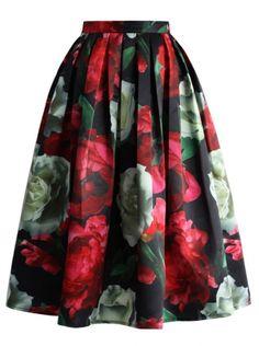 Chicwish midi sukně Pivoňková vášeň