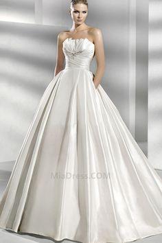 Longueur ras du Sol Eglise Princesse Sans Bretelles Naturel Robe de Mariée