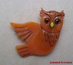 Carved From Vintage Marbled Orange Bakelite Cute Autumn Halloween Owl Pin Brooch | eBay