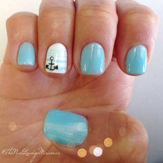 Blue Anchor summer gel nail art