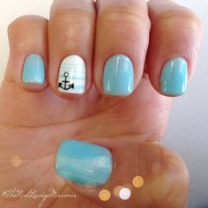 Blue and White with Anchor and Strips Nail Art Design