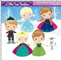 Snow Princess Clipart, Frozen clip art for Personal and Commercial /Card Design/Scrapbooking/Web Design/INSTANT from CeliaLauDesigns on Etsy.