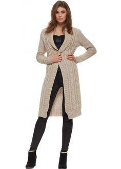 Designer Desirables Oatmeal Cable Knit Pull Over Long Cardigan