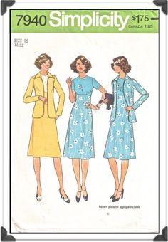 SIMPLICITY Pattern 7940 - Misses Empire Waist A-Line Dress w/Flower Applique & Unlined Jacket - Sz 16 B38 - Vintage 1970s. $5.50, via Etsy.