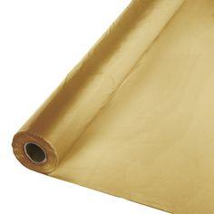 Glittering Gold Plastic Table Roll. 40 inch X 100 feet. One Roll. (011030)
