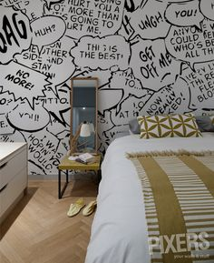 What if this were the wall mural with encouraging phrases? Or maybe the ceiling ? Comic Book Rooms, Comic Room, Boy Room, Kids Room, Inspiration Wand, Superhero Room, Moise, Deco Originale, Wall Decor