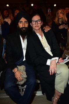 Waris Ahluwalia and Jenna Lyons attend the DKNY Women's Fall 2016 Show from Front Row during New York Fashion Week The Shows at the Skylight Modern...