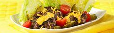 Mini Cheeseburger Beef Salad Recipe by Canadian Beef Lettuce Wedge, Potato Pasta, Beef Salad, Beef Burgers, Bread Board, Cheddar Cheese, Beef Recipes, Veggies, Tasty