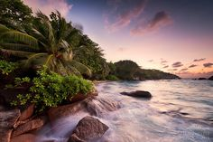 Tropical Inferno - TROPICAL INFERNO - Seychelles 2013  Maybe this photo is my favourite from this trip. I love the dynamic, the atmosphere and the tropical vegetation in it. For my taste this shot is close to perfection - I just like it. On top of that it was made on the evening of our wedding day, which makes it natural for me to be a very special moment. Because of this reason I think, I´m allowed to be a bit touchy-feely :-).  You can see a small bay close to Anse Lazio on Praslin. ...