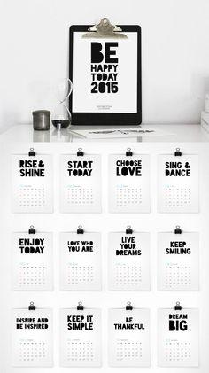 PRINTABLE CALENDAR 2015, CALENDAR DOWNLOAD, 2015 CALENDAR, INSPIRATIONAL CALENDAR, DIY CALENDAR