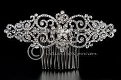 Wedding Back Comb of Jeweled Scrolls and Marquise Flower