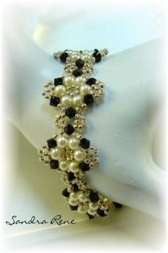 Beadwork Bracelet Beadwoven Black and White by mabel