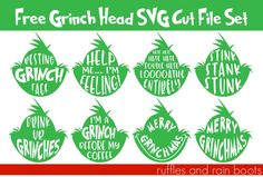 These free Grinch head SVGs are a perfect way to get anyone into the Christmas spirit. Click through to get these 8 free Christmas cut files now. The Grinch, Grinch Face Svg, Grinch Svg Free, Grinch Christmas Decorations, Merry Christmas, Christmas Shirts, Christmas Crafts, Xmas Shirts, Christmas Baskets