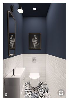 If you're wondering how to decorate a bathroom, you'll love these small bathroom design ideas. Create a stylish bathroom with big impact with our easy small bathroom decorating ideas. Bathroom Interior Design, Small Toilet Room, Blue White Bathrooms, Shower Room, Small Toilet, Small Downstairs Toilet, Toilet Design, Bathroom Decor, Small Bathroom Makeover