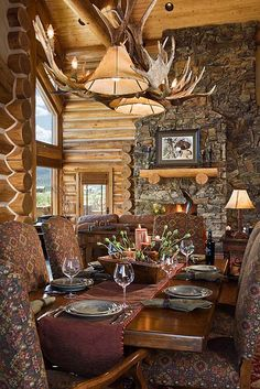 Images of kitchens and dining rooms in our milled log homes, timber frame homes, and handcrafted log homes. Log Cabin Living, Log Cabin Homes, Log Cabins, Luxury Dining Room, Dining Room Design, Dining Rooms, Dining Area, Kitchen Dining, Dining Table