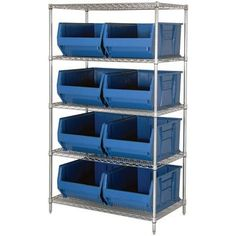 """Quantum Storage Systems WR5-993BL 5-Tier Complete Wire Shelving System with 8 QUS993 Blue Hulk Bins, Chrome Finish, 36"""" Width x 36"""" Length x 86"""" Height by Quantum. $959.99. Genuine Quantum modular wire systems offer a unique combination of shelf and post sizes in a variety of finishes to compliment any application. The split sleeve and grooved numbered posts allow for easy and quick assembly. The all welded shelf construction is supported with architectural wire tr..."""