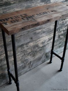 Image result for industrial skinny style pub table