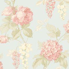 Norwall Vinylbehang uit de collectie Fleurs et Toiles 3 van Galerie. Patroon (CG28828) met bloem in kleur lichtblauw, groen, beige en roze.