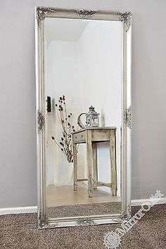 New large silver decorative vintage chic wall mirror 5ft3 x 2ft5 (160cm x 74cm)