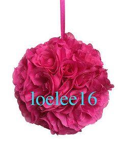 10-Flower-Kissing-Ball-Wedding-Silk-Rose-Party-Pomander