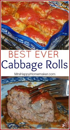 Cabbage Rolls - tried this recipe and liked it. I fried the onion and garlic in butter first before adding to rice and meat. My new favorite recipe for cabbage rolls! Casserole Recipes, Meat Recipes, Cooking Recipes, Healthy Recipes, Pastry Recipes, Simple Recipes, Polish Recipes, Recipies, Cooking Ham