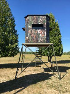 Game winner quad pod 2 man 360 rotating stand academy for Octagon deer blind plans