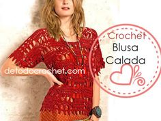 Patrones de Blusa Calada Crochet 😊 Top Crop Tejido En Crochet, Crop Tops, Dresses With Sleeves, Lace, Sweaters, Crochet Gratis, Long Sleeve, Chart, Fashion
