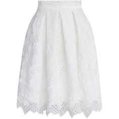Chicwish Pleated White Skirt with Scallop Hem ($45) ❤ liked on Polyvore