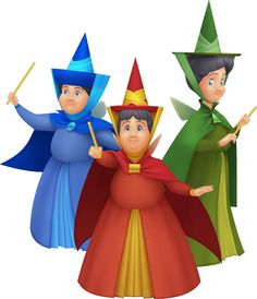 *Sleeping Beauty ~ Flora, Fauna and Merryweather as they appeared in the Kingdom Hearts series.