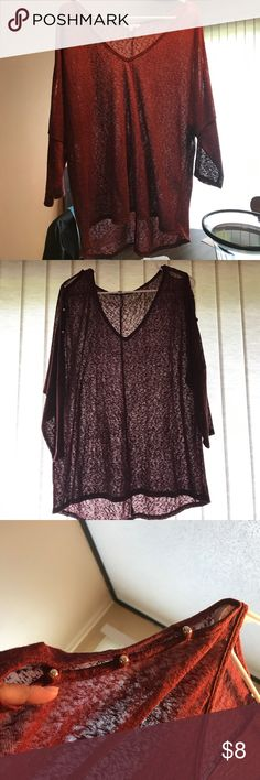 Shirt Very cute, low neck, open arm, see through. Has a snag on the mid to upper left side, very small hard to see. Maroon in color. Dress this in layers for casual wear or to work. Charlotte Russe Tops Blouses