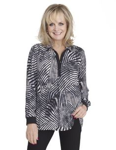 Twiggy for M&S Collection Double Collar Graphic Print Blouse-Marks & Spencer